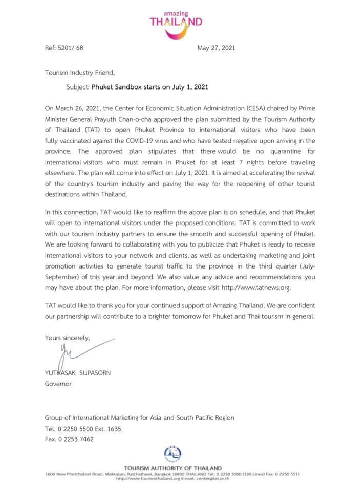 carta a las personas en la industria del turismo diciendo que Phuket abre las puertas a los turistas extranjeros vacunados a partir del 1 de julio.