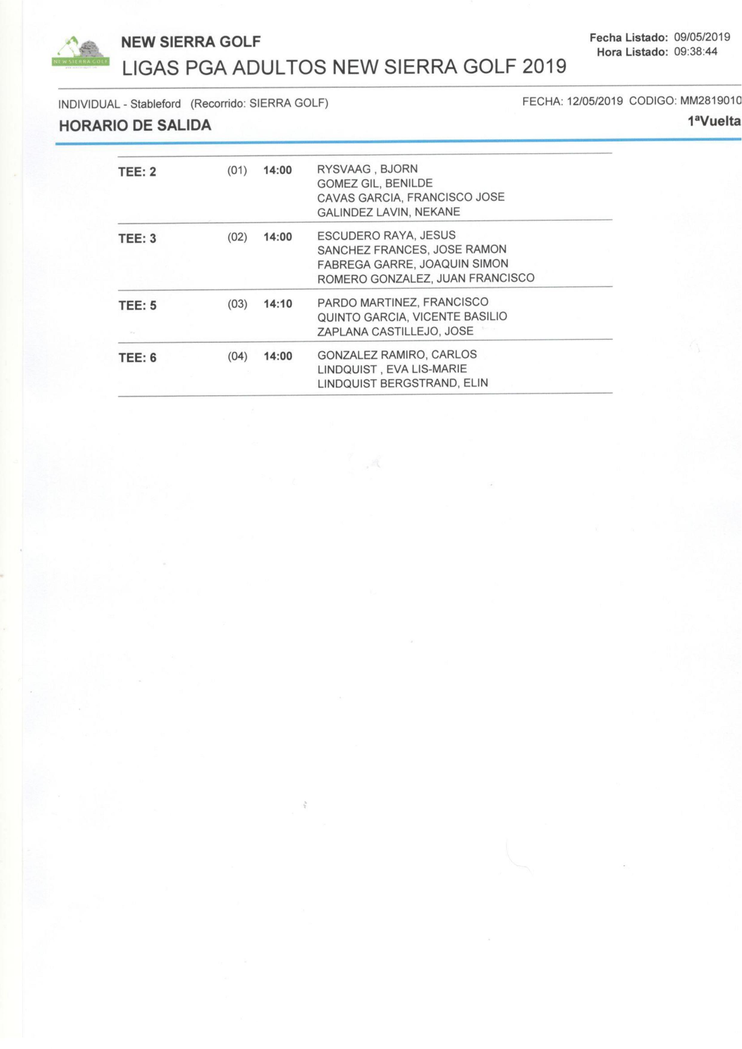 190512 NSG, Horario de salidas (2)