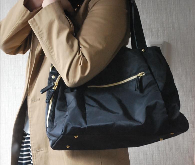 フェリシモ IEDIT[イディット] 大きく開いて中が見やすい 軽やかきれいな大人ナイロンボストンバッグ