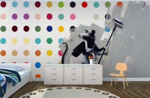 Graffiti-Banksy-Rat-Dots-Mural-Room