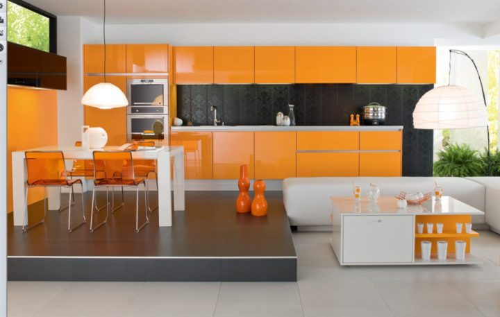 retro-orange-kitchen-with-white-living-room-furniture