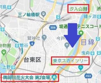 隅田川花火大会が一望できる汐入公園→花火大会の図