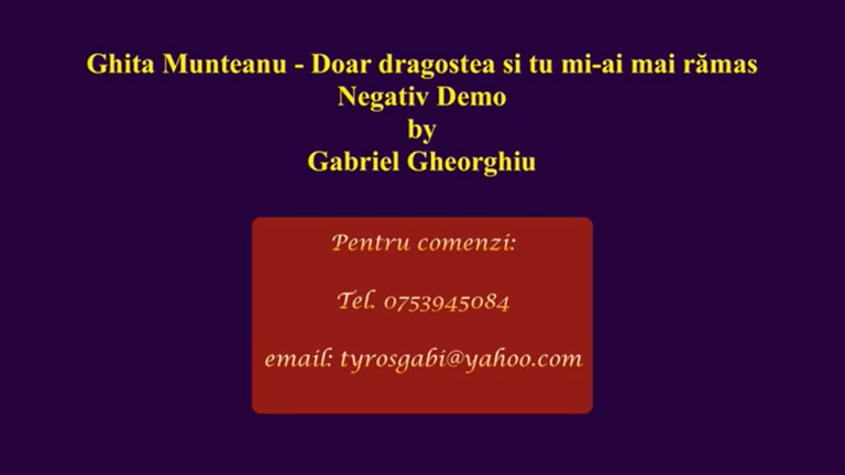 Doar dragostea si tu mi-ai mai ramas – Ghita Munteanu – Negativ Karaoke Demo by Gabriel Gheorghiu