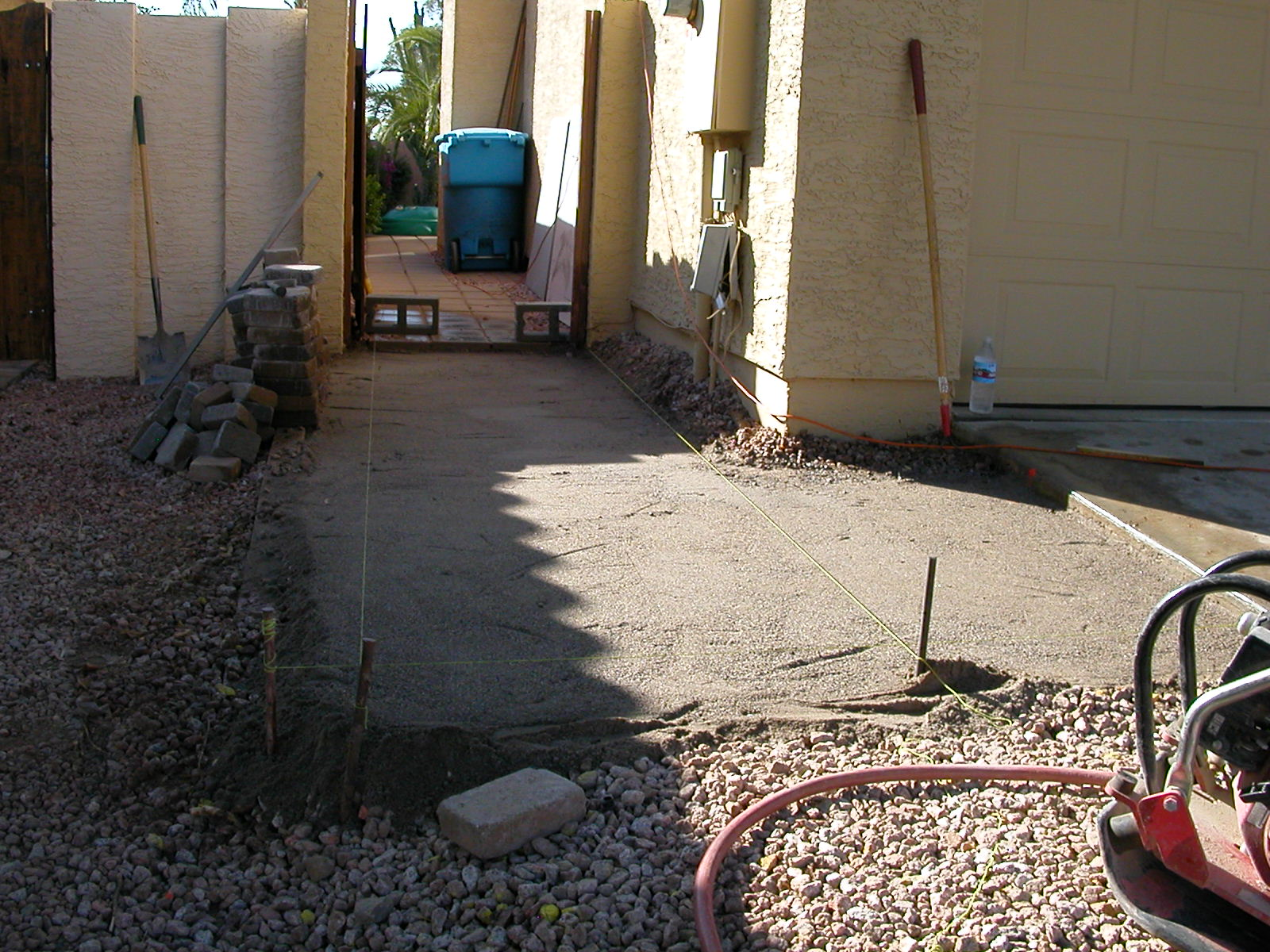 Side walkway, prepped for pavers