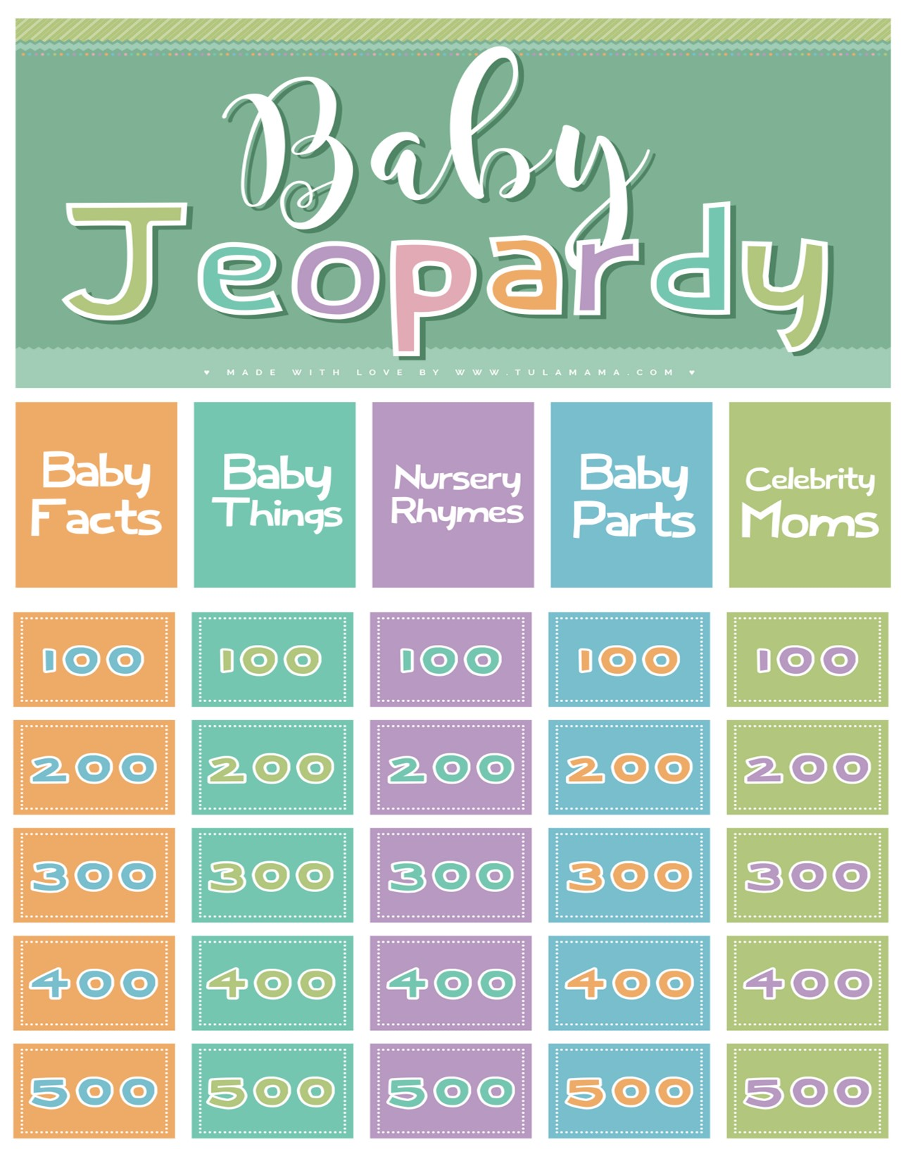 The Easiest Amp Cutest Baby Jeopardy With Answer Key
