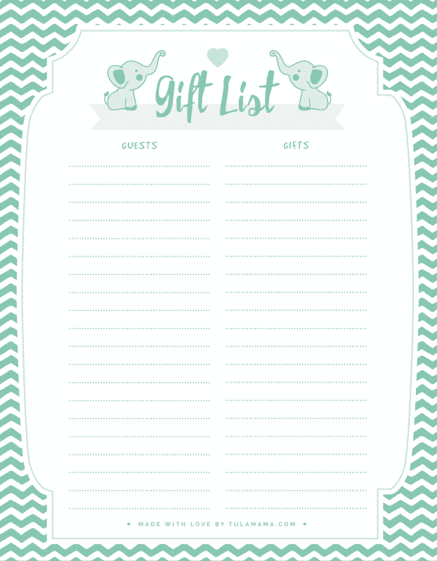 Baby Shower List Template : shower, template, Printable, Tracker, Occasion, Tulamama