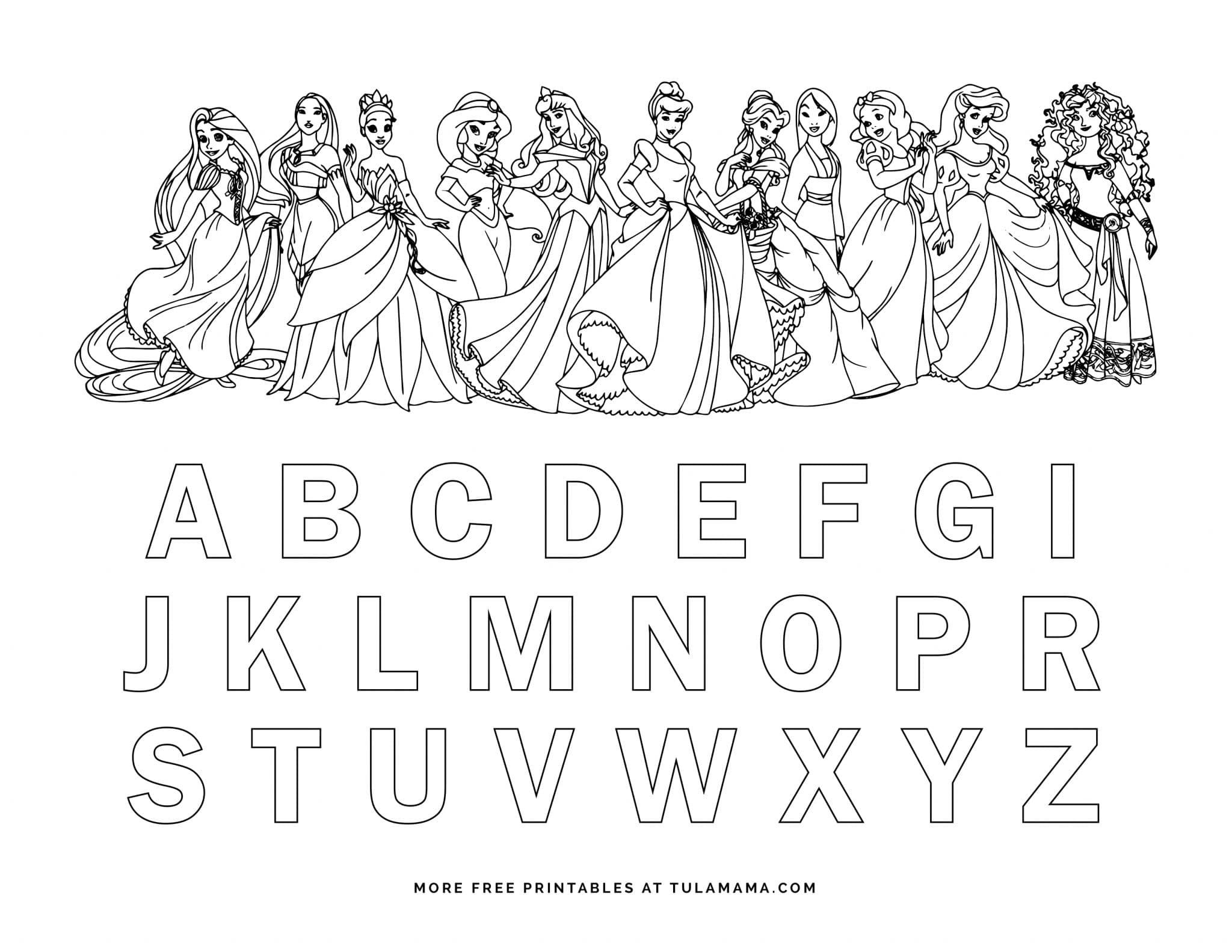 Free Printable Disney Alphabet Coloring Pages