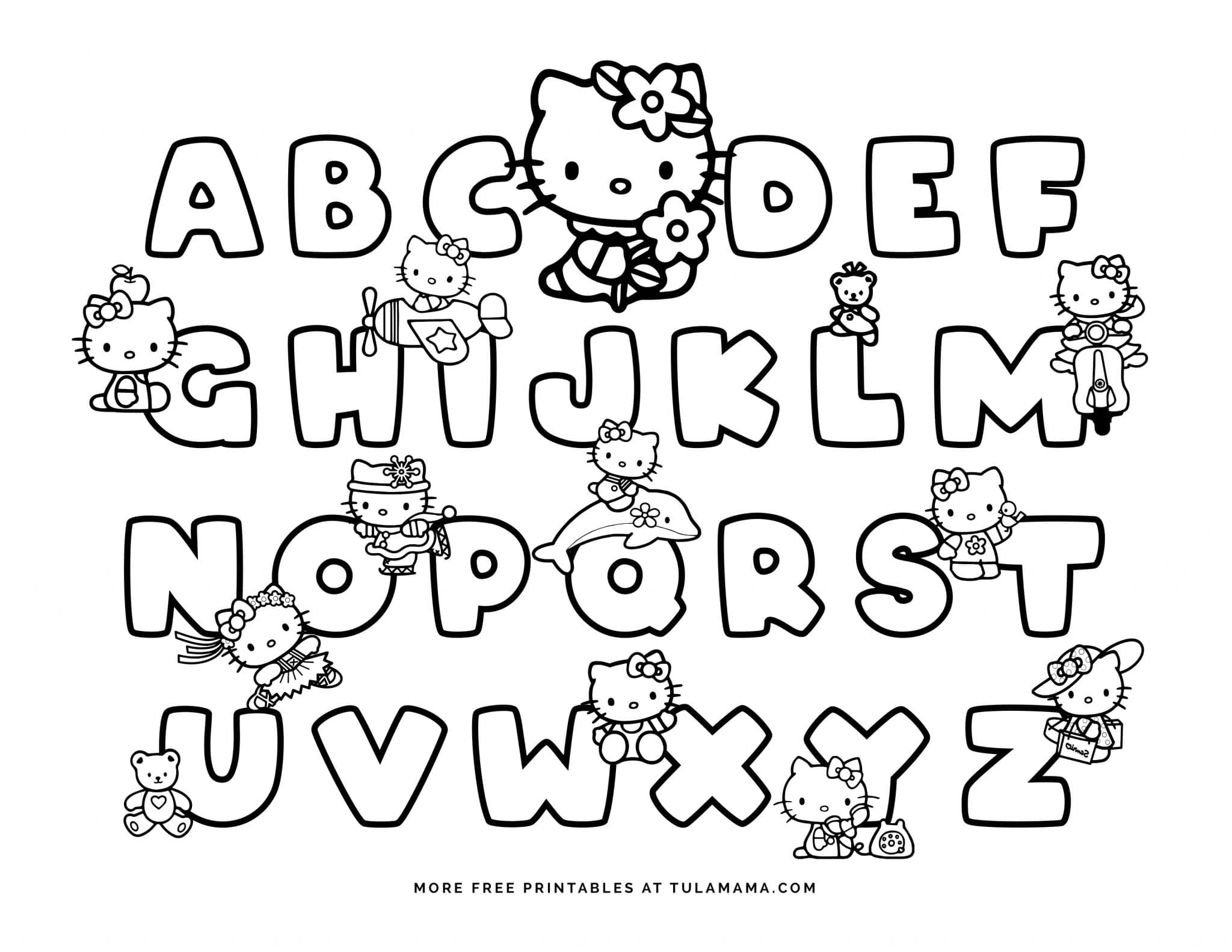 Free Hello Kitty Printables And Abc Coloring Pages