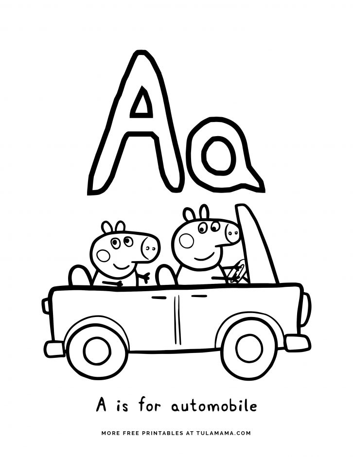 Free Printable Peppa Pig Abc Coloring Pages For Preschoolers Tulamama