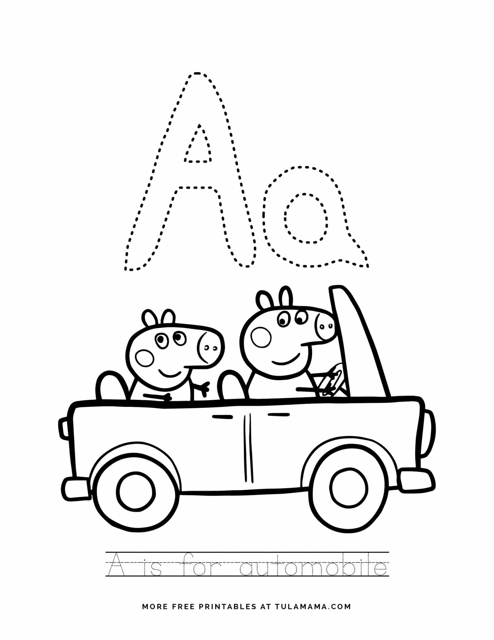 Free Amp Cute Peppa Pig Alphabet Tracing Sheet Printables
