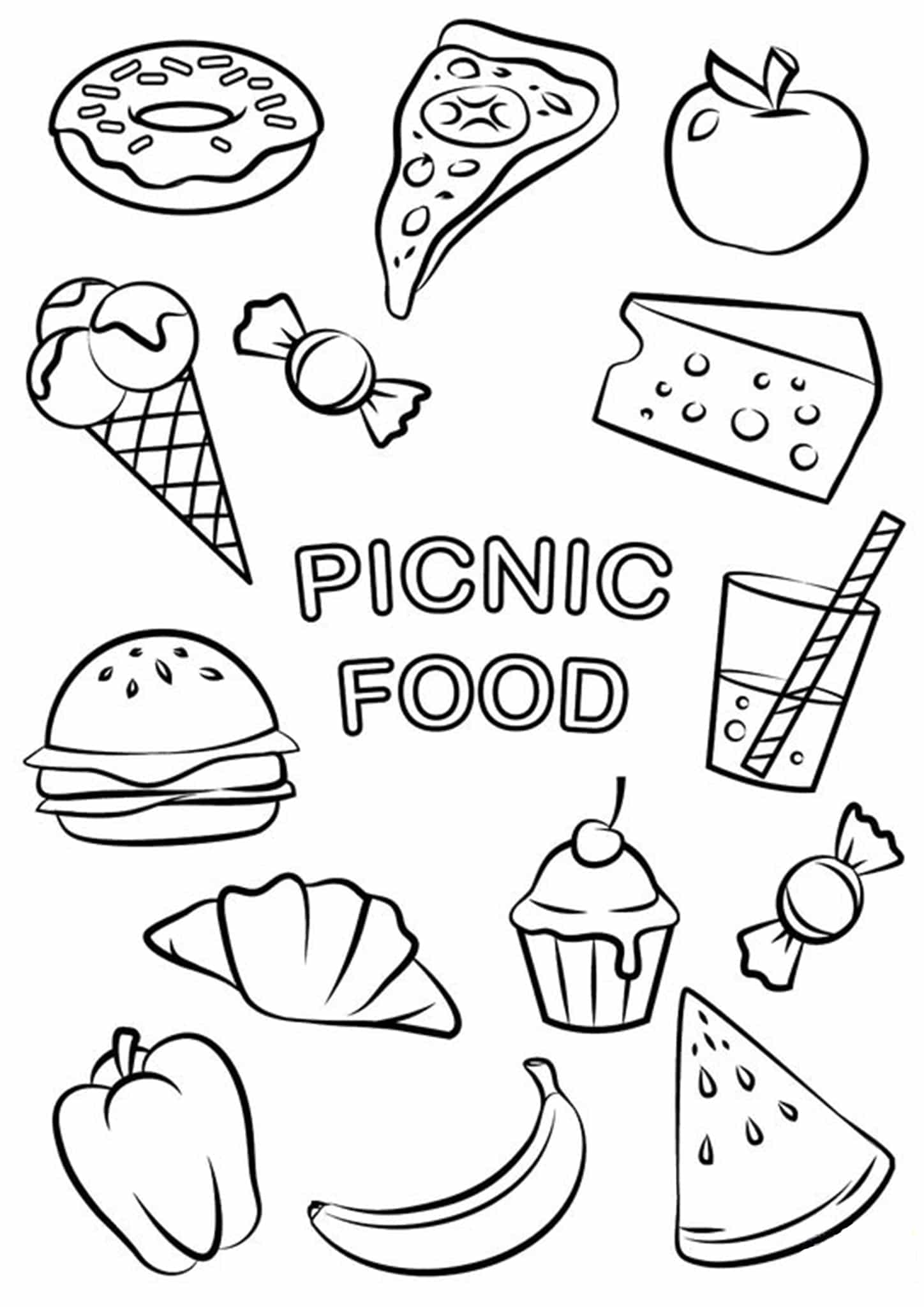 Free Amp Easy To Print Food Coloring Pages