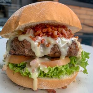 on burger