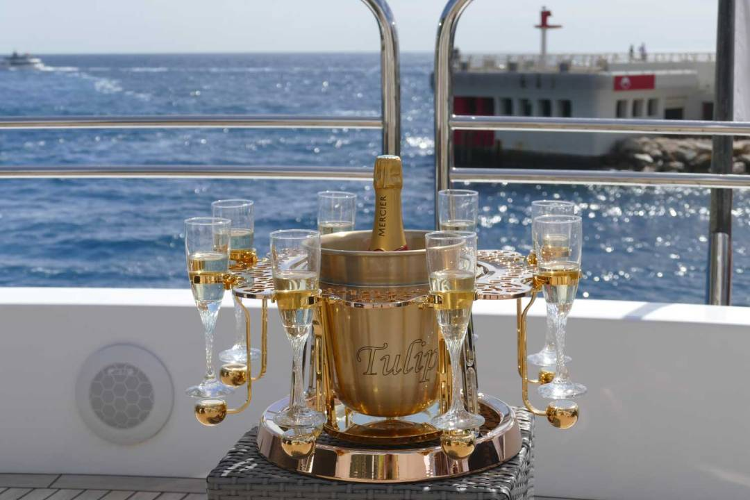 Tulip By Germain luxury champagne bucket Lace edition on Yacht