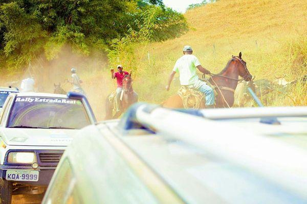 Fim das esperanças quando boiadeiros bloquearam por mais de 5 minutos a estrada penalizando mortalmente alguns carros, entre eles… Nossa equipe. (foto:whatsapp_Rally_estrada_real)