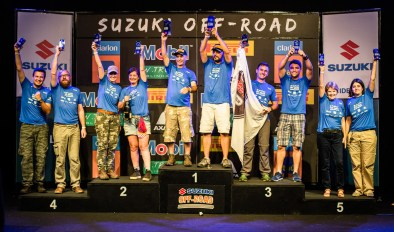 Pódio coroou os campeões. Foto de Tom Papp / Suzuki