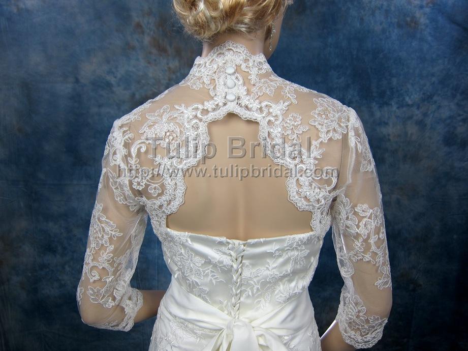 3/4 Sleeve Alencon Lace Bolero With Keyhole Back