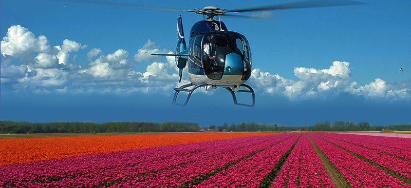 helikopter flight flower fields