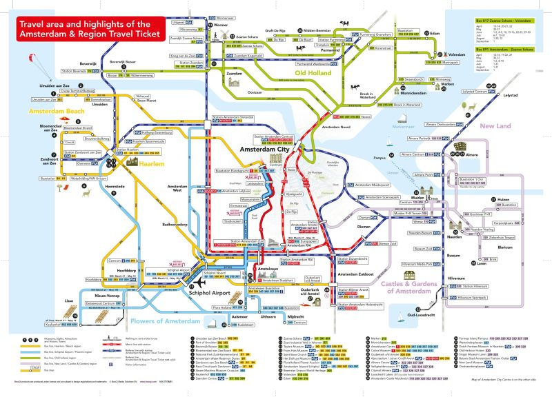 Amsterdam Region Travel Ticket map