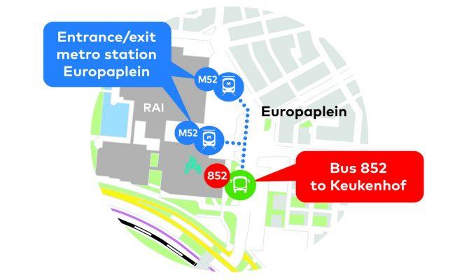 Keukenhof bus 852 Arriva from RAI Amsterdam