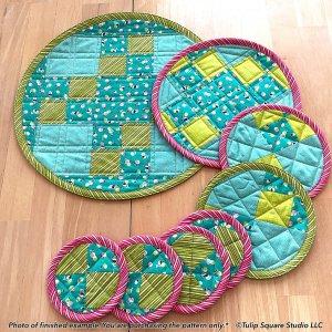 Round Trivet Set Quilted Kitchen Pattern-tulip-square-quilt-patterns