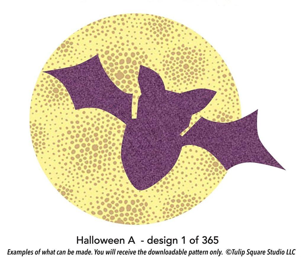 Halloween bat free appliqué pattern