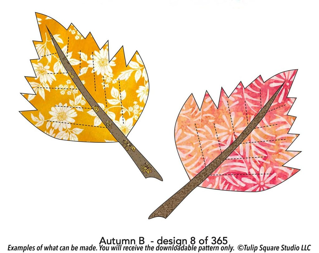 Drawing of two jagged, spiky autumn colored leaves.