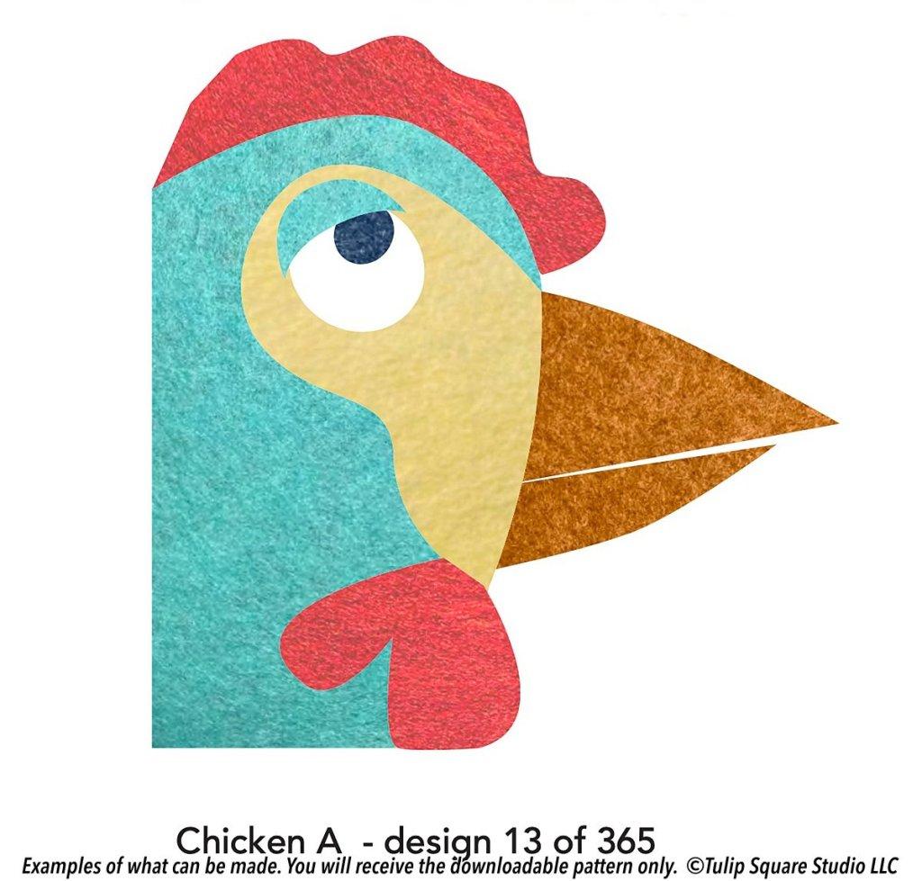 Graphic of a felt appliquéd chicken rolling its eyes