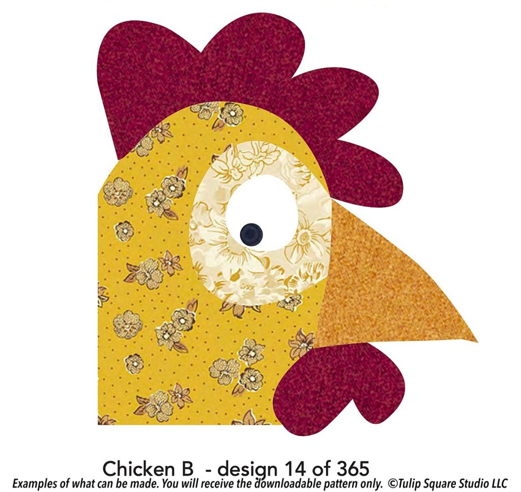 Graphic of a cartoon chicken peeking up from the bottom corner. Colors are made of patterned fabrics.