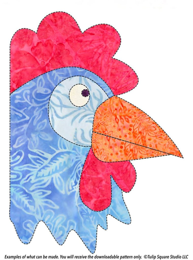 A cartoonical rooster created with patterned blue, red, and orange fabrics.