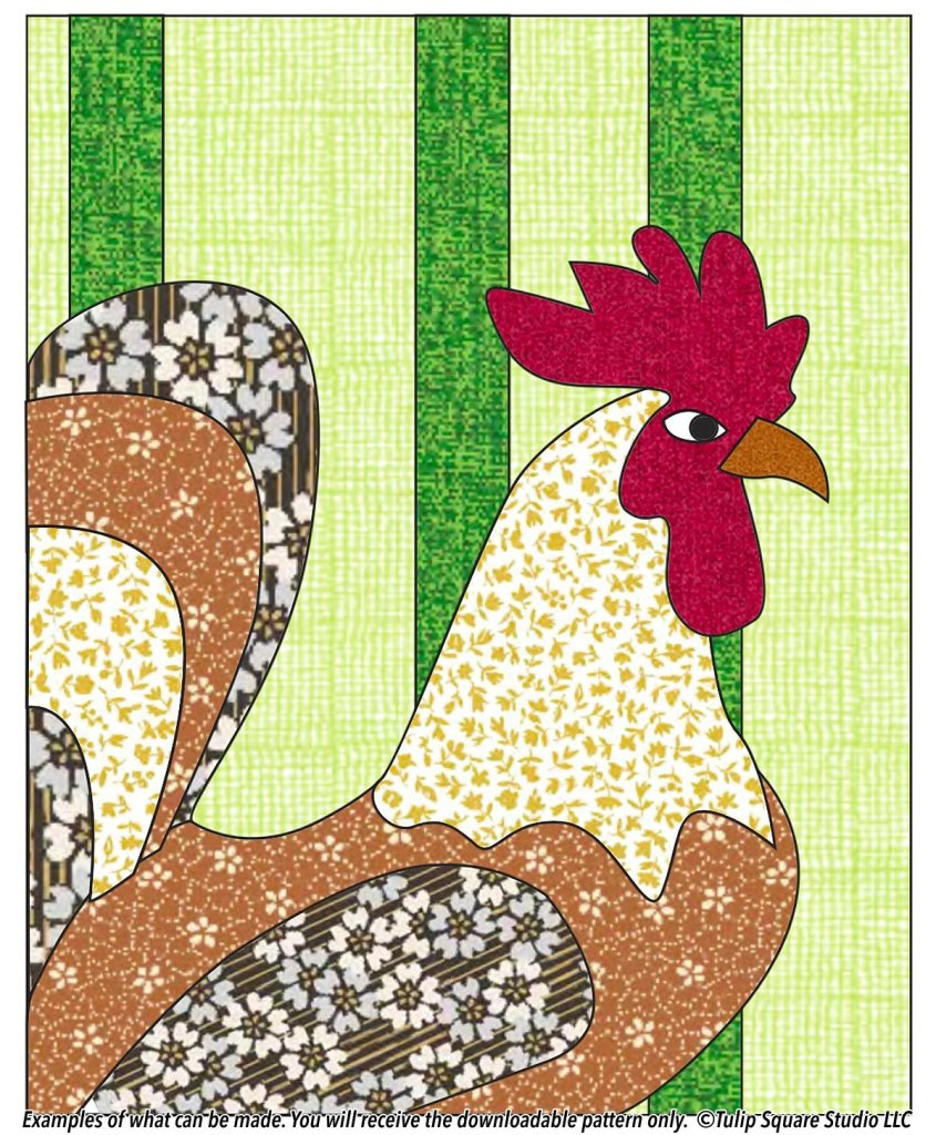 An impressive rooster made of flowered fabrics in shades of tan, brown, and red, on a green striped background.