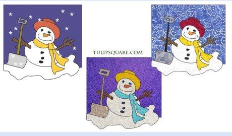 Happy Snowman Free Winter Appliqué Pattern
