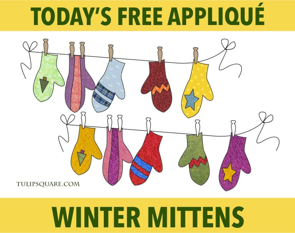 Free Appliqué Pattern - Winter Mittens