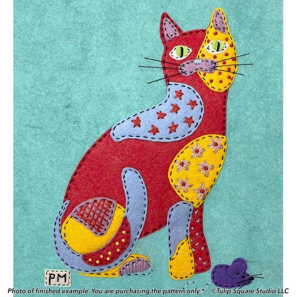 Cool Calico Cat Felt Appliqué Pattern
