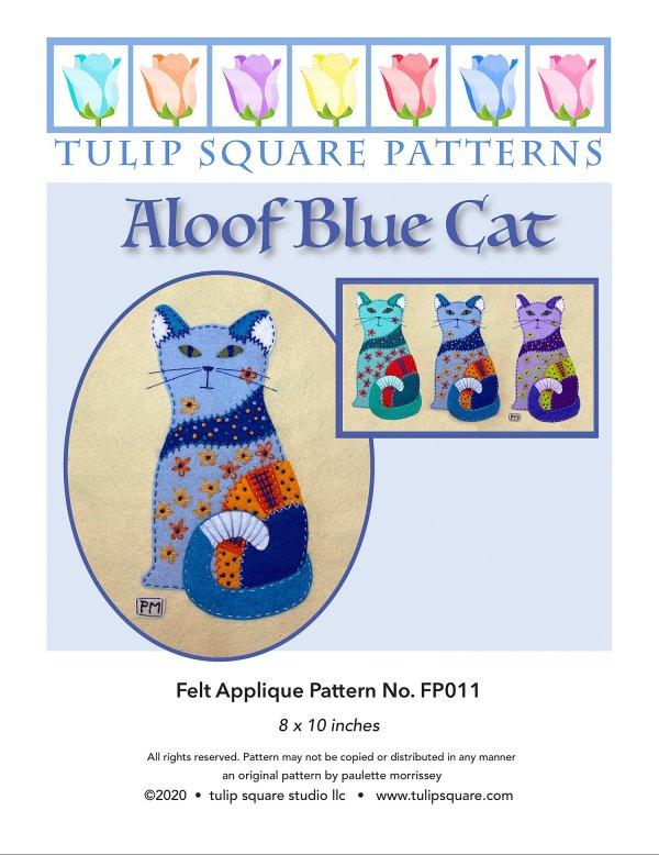 Aloof Blue Cat Felt Appliqué Pattern Cover