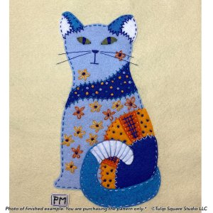 Aloof Blue Cat Felt Appliqué Pattern