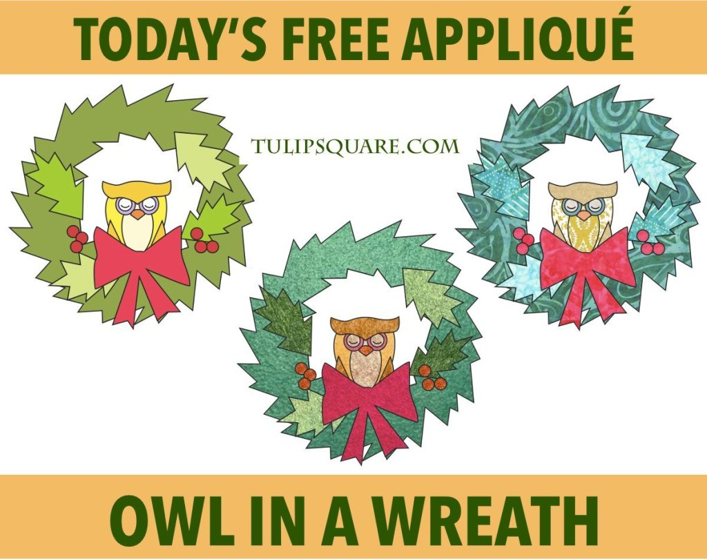 Free Christmas Appliqué Pattern - Owl in a Wreath