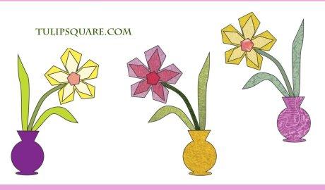 Free Flower Appliqué Pattern - Flower in a Vase