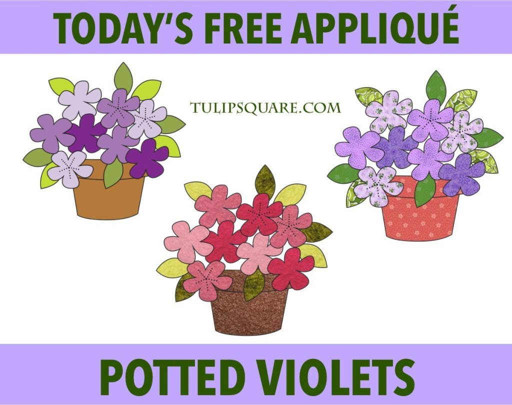 Free Flower Appliqué Pattern - Potted Violets