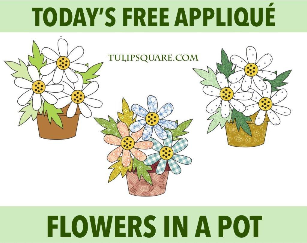 Flowers in a Pot Free Appliqué Pattern