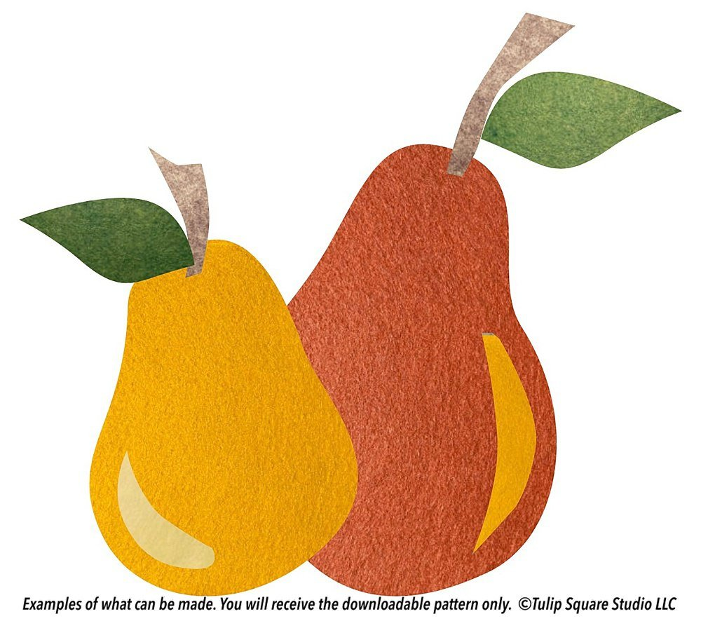 Two pears made of felt appliqué, in shades of gold and orange.
