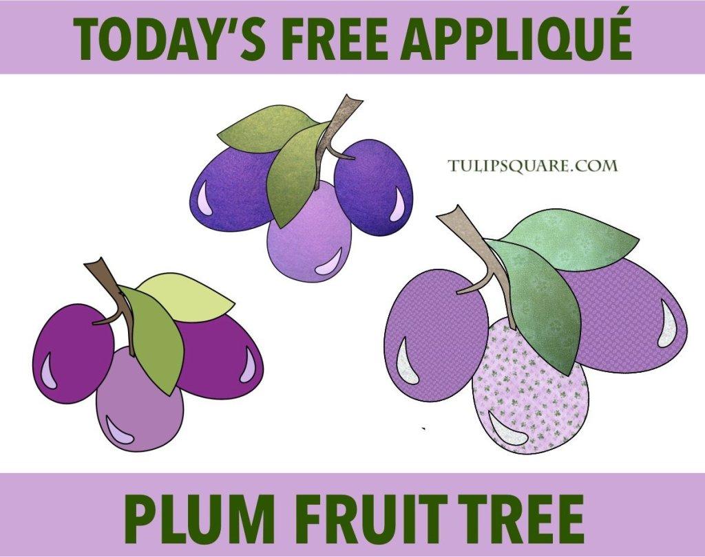 Free Plums Fruit Appliqué Pattern