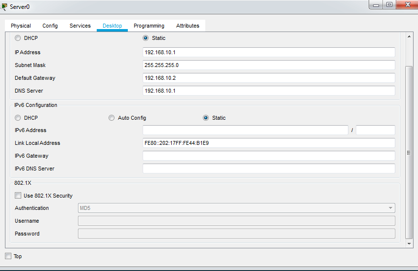 konfigurasi client server di cisco packet tracer