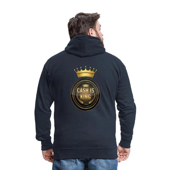 Cash is king - visa att du bojkottar kontantfria butiker och restauranger - Premium Luvjacka hoodie med tryck på ryggen herr