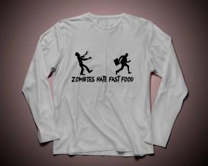 Zombies hate fast food - Långärmad tröja unisex