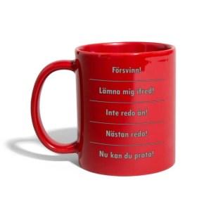 Kaffemugg - Olika stadier - Enfärgad mugg - Röd