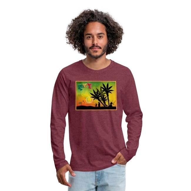 Reggae med cannabispalmer - Långärmad premium T-shirt herr