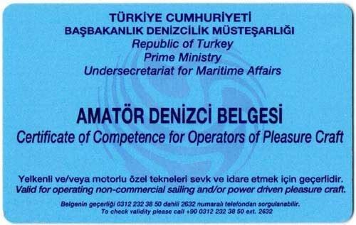 Amatör Denizci Belgesi (Tekne Ehliyeti)