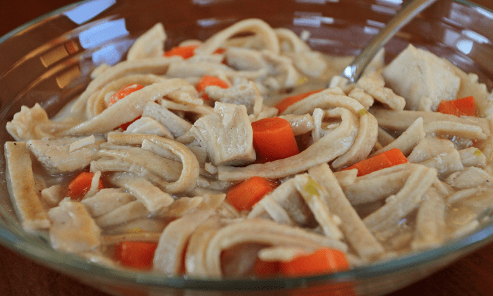 Chicken soup with gluten, dairy free egg noodles