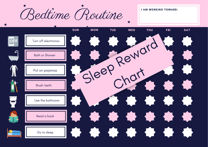Bedtime routine and reward chart