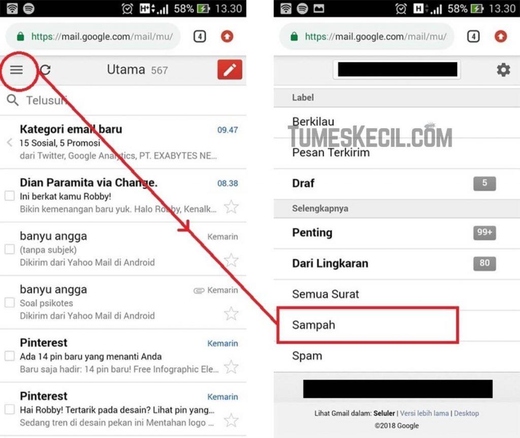 cara mengembalikan email yang telah dihapus di gmail